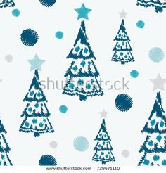Embroidery Seamless pattern Christmas holiday with tree, dots, stars.