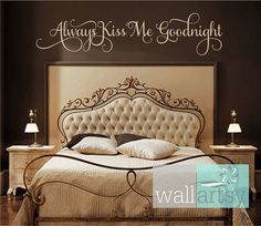 Always Kiss Me Goodnight Vinyl Wall Decal Master by wallartsy