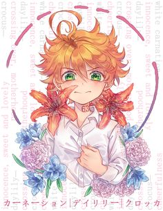 Yakusoku neverland - The promised Neverland Ereri, Manga Anime, Anime Art, White Carnation, Geek Out, Day Lilies, Awesome Anime, Anime Shows, Carnations