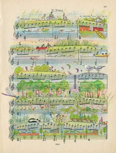 Alexei Lyapunov and Lena Ehrlich are the two members of People Too, an illustrative team from Novosibirsk, Russia that draws elaborate scenes on pieces of sheet music. The colorful works capture both Sheet Music Art, Vintage Sheet Music, Vintage Sheets, Music Sheets, Music Paper, Music Doodle, Music Crafts, Colossal Art, Dictionary Art