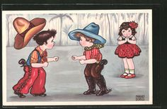 carte postale ancienne: CPA Illustrateur Margret Boriss: zwei Cowboys im Duell et ein Fille