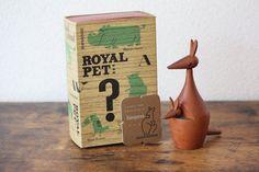 Rare Kangaroo a mid century modern wood Kangaroo by Senshukai collectible Royal Pet Animal series vintage MCM home decor