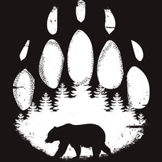 Black Bear Paw Forest Animal Silhouette T Shirt By Bicone Design By Humans Paw Print Art, Bear Paw Print, Paw Prints, Animal Silhouette, Silhouette Art, Forest Silhouette, Bear Stencil, Animal Stencil, Bear Paw Tattoos