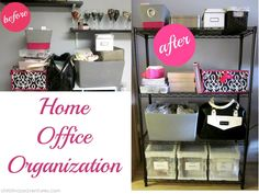 Office Makeover - Christinas Adventures Home Office Organization Diy Organisation, Small Room Organization, Office Organization At Work, Office Ideas, Advent, Before After Home, Ikea Closet Organizer, Real Estate Office, Office Makeover