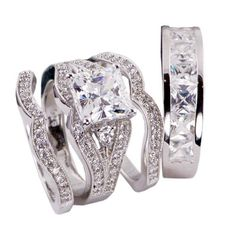 4pcs His and Hers Bridal Engagement Wedding Ring Set .925 Sterling Silver (Womens 5-10)(mens 7-13) Cant Find Size? Please Email Us the Sizes That You Need After the Sale