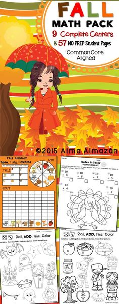 Fall Math Pack 9 Complete Centers and 57 NO PREP Work Pages ready to print and go. This pack is HUGE! You will find Math centers and other activities that will keep your kiddos engaged during the fall months. Everything is Common Core-aligned with the Kindergarten standards. However, whenever possible I made the same activity with more than one level for some differentiation. Alma Almazan  This pack is 202 pages long, soooo it's too much to list…
