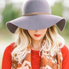 Accessories - Felt floppy hat wide brim gray summer grey neutral on Poshmark