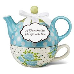 Grandmother, Aqua Spring Rose Bunch Tea for One - You & Me by Jessie Steele - Pavilion Gift Company Tea For One, My Tea, Gifts For Older Women, Grandmother Gifts, Grandmothers, Tea Pot Set, Rose Tea, How To Make Tea, Chocolate Pots