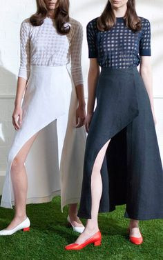 NY Fashion Week, preorder Isa Arfen Spring 2015 Trunkshow Look 10 - Long Sleeve Knit, Short Sleeve T-Shirt In Midnight Kiss and Asymmetric Wrap Skirt In Coconut or Abyss Navy
