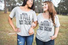 Funny Coffee Tall Best Friend &Short Best Friend BFF shirts