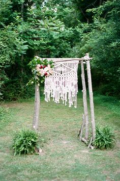 macrame wedding backdrop - photo by Jeffrey C Gleason Photography http://ruffledblog.com/dorey-park-va-wedding
