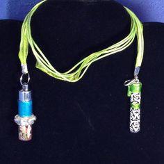 Bookmark Light Vial Glow In the Dark Coral Peridot Rhinestone Pagan Wicca #PetBunnyCreations