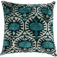 Galata Reversible Decorative Pillow Cover found on Polyvore featuring home, home decor, throw pillows, ikat throw pillows, blue accent pillows, blue toss pillows, blue throw pillows and handmade home decor