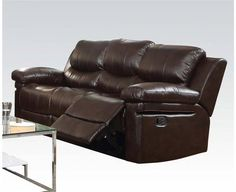 Xenos Dark Brown Faux Leather Metal Wood Motion Sofa