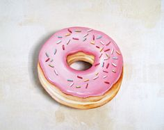 Image of Pink frosted donut with sprinkles diecut (wood plaque)