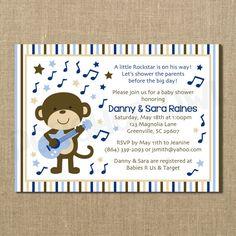 Rockstar Monkey Baby Shower Invitation