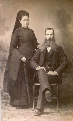 A Michigan couple in mourning, albumen carte de visite, circa 1885. #Victorian #portrait #1800s #couple