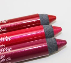 Hard Candy Visibly Wet Shockingly Glossy lip pencil.  I have the top two colors.  These colors are extremely vibrant/bold, glossy as the name suggests and do not feather.  I love them.  Must not use on chapped lips though.  ;) Hard Candy is animal cruelty free :) I would compare these to Urban Decay's super saturated lip pencils but are half the price: http://www.urbandecay.com/super-saturated-lip-gloss-from-urban-decay/338,default,pd.html