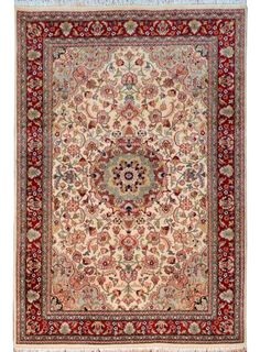 "Ivory Persian Kashan Rug 4' 2"" x 6' 4"" (ft) - No. 14441  http://alrug.com/ivory-persian-kashan-rug-4-2-x-6-4-ft-no-14441.html"