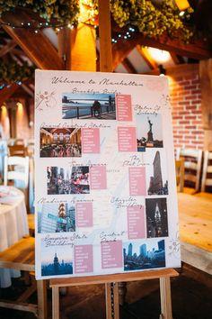 Wedding Table Plan – New York themed wedding Reisen Hochzeitsmotto Wedding Table Layouts, Seating Plan Wedding, Wedding Themes, Wedding Venues, Wedding Decorations, Wedding Reception, Wedding Dress, New York Wedding, Our Wedding