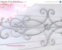 ON SALE Wrought Iron Wall Decor / Indoor /Outdoor / Cottage Style / Fleur de Lis / Shabby Chic Decor / Bedroom Wall Decor / Kitchen Decor on Etsy, $43.65 CAD