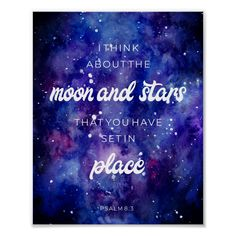 Psalms watercolor Galaxy Stars Bible Verse Quote Poster
