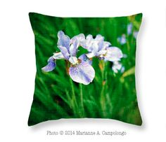 """Beautiful Louisiana Iris on a pillow - sophisticated #homedecor #interiordesign #forthehome Try one for your office chair to keep your back from aching. They come in a 20"""" x 14"""" size too. I'm sitting here right now with my favorite lighthouse behind me :) Save $5 thru 2/15/15 use code RSYBMN Like it? Repin to save for later that way you have the discount code too."""