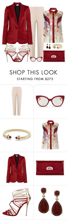 """Jonathan Saunders Nanette Blouse Look"" by romaboots-1 ❤ liked on Polyvore featuring Agnona, Miu Miu, David Yurman, Jonathan Saunders, PALLAS, Christian Louboutin and Jimmy Choo"