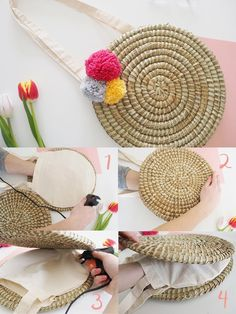 DIY Wicker Basket Bag Tutorial Step by Step