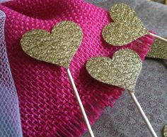 12 Small Sparkling GOLD HEARTS Cupcake Toppers Wedding Cake Decorations on Etsy, $1.65