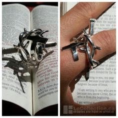 Jesus christ! A ring that symbolized jesus that died for our sins. A nail, rose thorns, and the cross. Handfabricated design, sterling silver made by Arron Le.