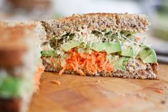 Hummus, Carrot, Cucumber, Avocado, and Sprouts Sandwich [Vegan] - One Green Planet