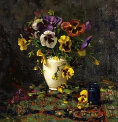 Del Gish, Pansies oil on canvas