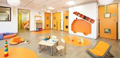 Projet architecture crèche Le Mans de 30 berceaux Le Mans, Daycare Design, Daycare Ideas, Montessori Bedroom, Pediatrics, Playground, Architecture Design, Nursery, Interior Design