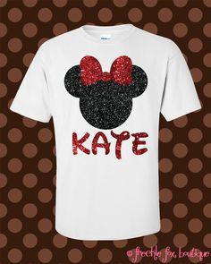 Custom Name Disney Minnie Mouse Mickey Glitter Short Sleeve Tee Shirt. $29.99, via Etsy.