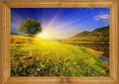 #Wschód słońca w #górach. Piękny #obraz w drewnianej #ramie.