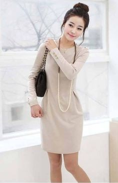 Moda un estilo elegante de Cuello Redondo Manga Larga Oficina Casual Delgado Mini Vestido