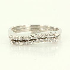 Estate 14 Karat White Gold Diamond Set of 2 Stack Band Rings Fine Jewelry $699