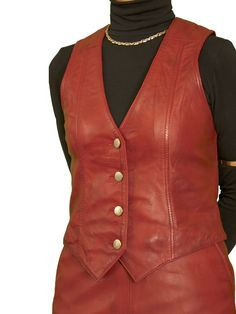 Womens Cherry Red Luxury Leather Waistcoat with back buckle belt. Made in finest soft semi-aniline lambskin nappa leather. Also in black and leather. Available with matching pencil skirt.