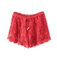 Crochet Lace Shorts With Drawstring