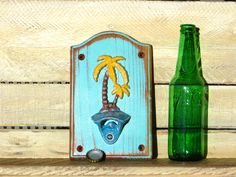 Cast Iron Bottle Opener, Palm Tree Tropical Decor, Tiki Bar Tropical Kitchen Beach Decor, Wall Mounted, Beer Soda Pop Handmade Distressed by DesertGrain on Etsy