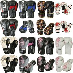 New Pro Rex Leather Gel BOXING GLOVES Muay Thai Grappling Pad Punch Bag MMA UFC
