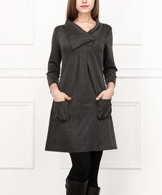 Simple charcoal A-Line Dress… WITH Pockets !!!