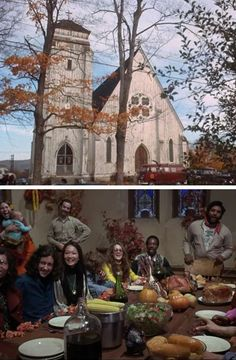 """Hippies eating Thanksgiving dinner in a converted church, """"Alice's Restaurant"""", 1969."""