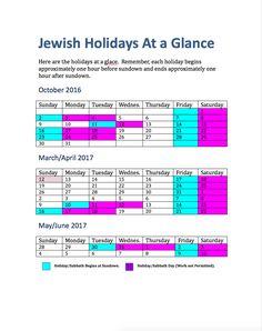 Jewish Holidays Academic Year 2016-17