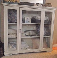 China hutch top painted in ASCP old white with clear wax. Just add feet to turn it into display cabinet.