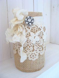 Burlap Lace Mason Jar with Rhinestone Brooch Wedding by ShabbySoul