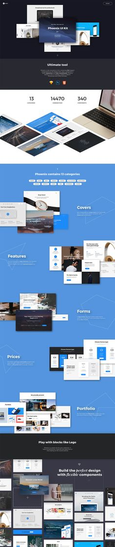 Super long parallax scrolling One Pager promoting 'Phoenix Startup' - a smart UI kit to help construct your next landing page.