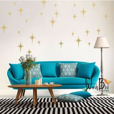 Retro starbursts vinyl wall decals confetti by wordybirdstudios