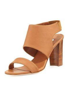 MANOLO BLAHNIK LOYAL LEATHER BLOCK-HEEL SANDAL, LUGGAGE. #manoloblahnik #shoes #sandals
